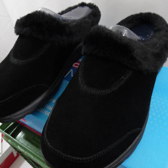 Skechers Gowalk Suede Faux Fur Clogs